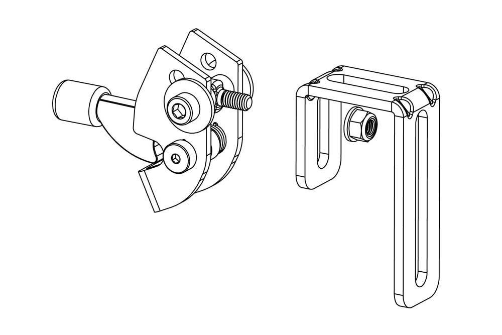 RackStand latch and J-bracket diagram
